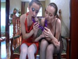 Veronica and Emm lesbo pantyhosing on movie
