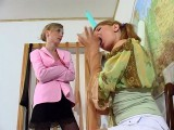 Leah and Alice panty hose job movie