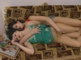 Ophelia and Salome screened while pantyhosing
